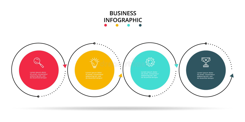 Concept cr?atif pour infographic avec 4 ?tapes, options, parts ou processus Visualisation de donn?es commerciales illustration libre de droits