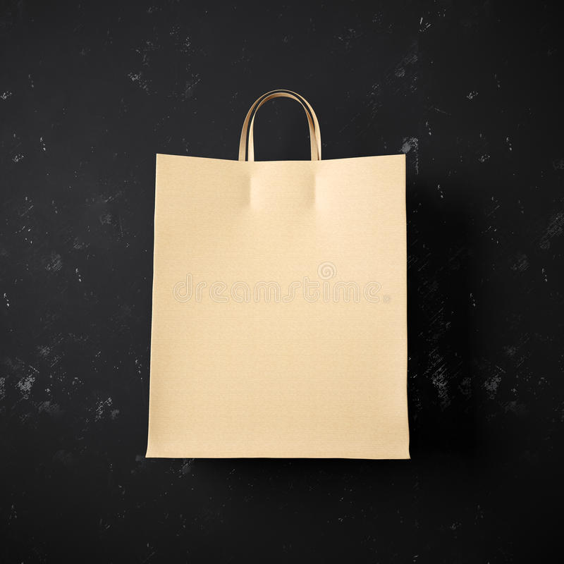 Concept of craft shopping bag on the black stock images