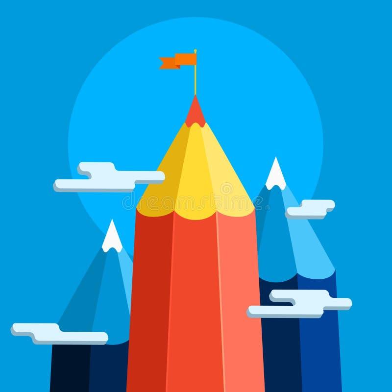 Concept creatief succes Doelvoltooiing royalty-vrije illustratie