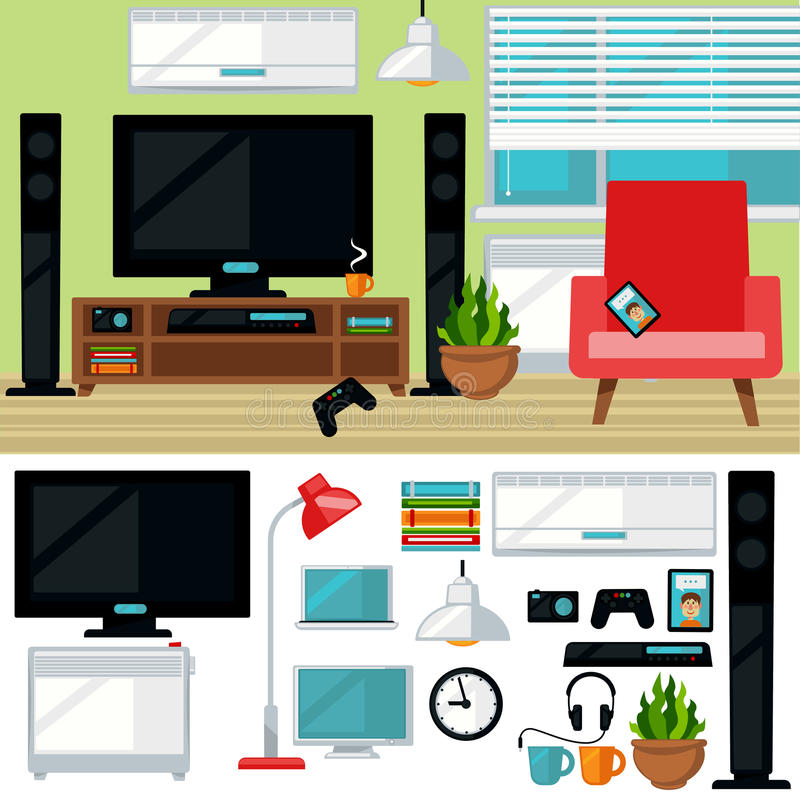 Concept creatieve woonkamer met stoel en TV stock illustratie
