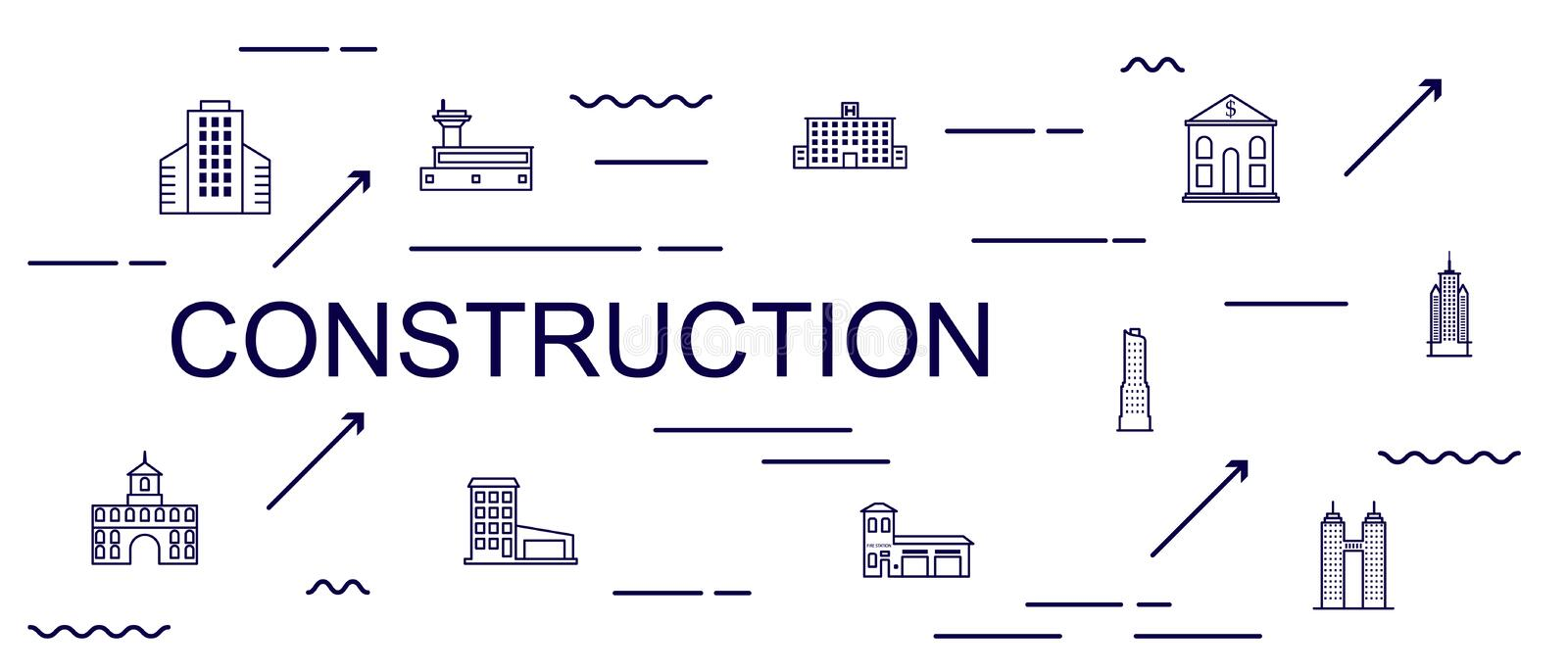 Concept of creating and building idea / Building production line / manufacturing and machine / typography. Construction vector illustration