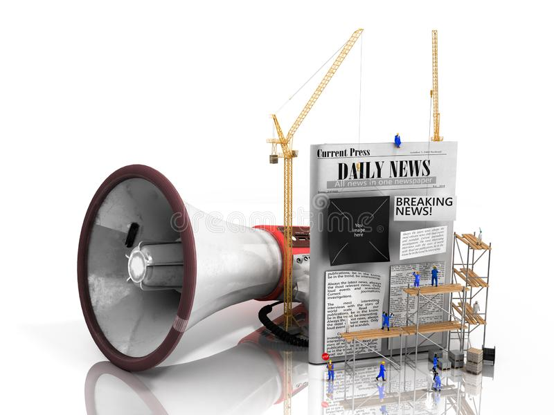 Concept of creating news Builders glue the text to an empty newspaper next to a loudspeaker symbolizing propoganda 3d render on royalty free illustration