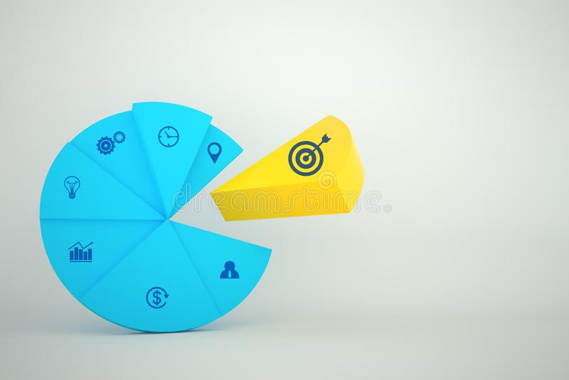 Concept creative idea  graph color with icon business strategy and Action plan royalty free illustration