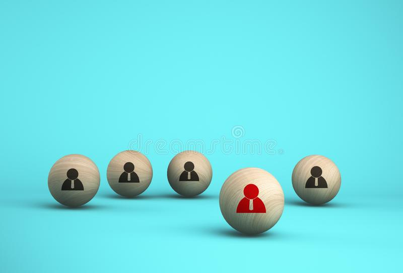 Concept creative idea of human resource management and recruitment business employee concept. Arrange wooden sphere on blue. Background vector illustration