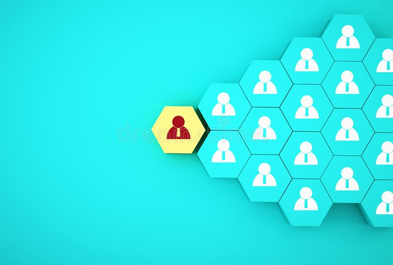 Concept creative idea of human resource management and recruitment business employee concept. Arrange yellow hexagon on blue. Background vector illustration