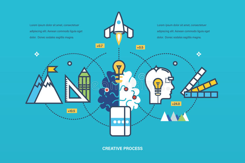 Concept - creative process of thinking and realization ideas, inspiration. stock illustration