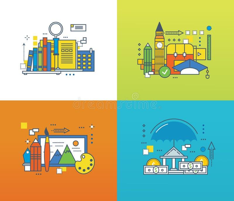Concept - creativiteit, onderzoek naar kennis, verzekering, het leren van vreemde talen vector illustratie