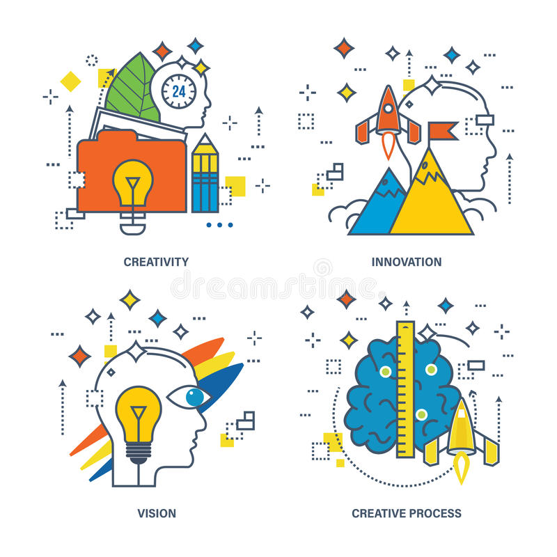 Concept of creativity, innovation, vision, creative process. Color Line icons collection stock illustration