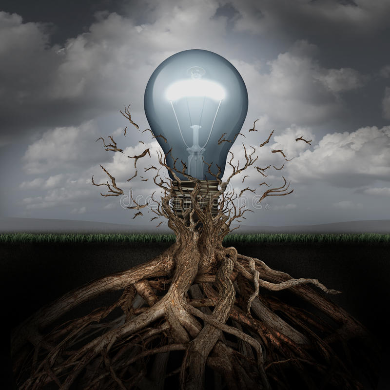 Concept Of Creativity. And the rise of ideas as a light bulb emerging out from underground roots breaking free from confining branches as a success metaphor royalty free illustration