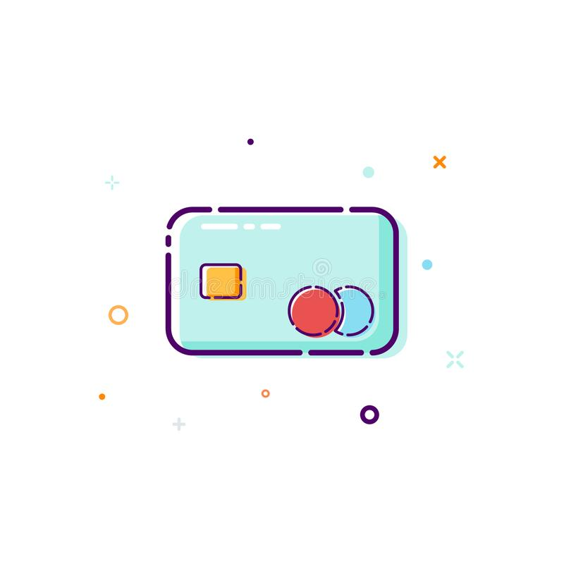 Concept credit cart icon. Thin line flat design element. purchase and payment online concept. Vector illustration isolated on whit vector illustration