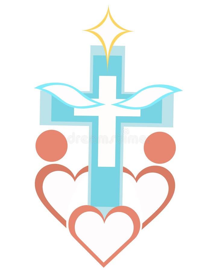 Concept croisé de prière global de logo d'église illustration de vecteur