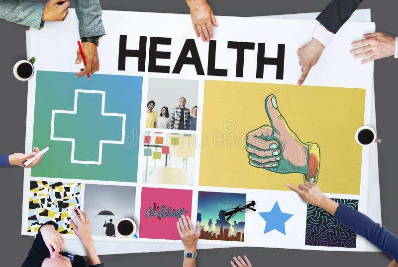 Concept croisé heureux de Thumbsup de santé image libre de droits