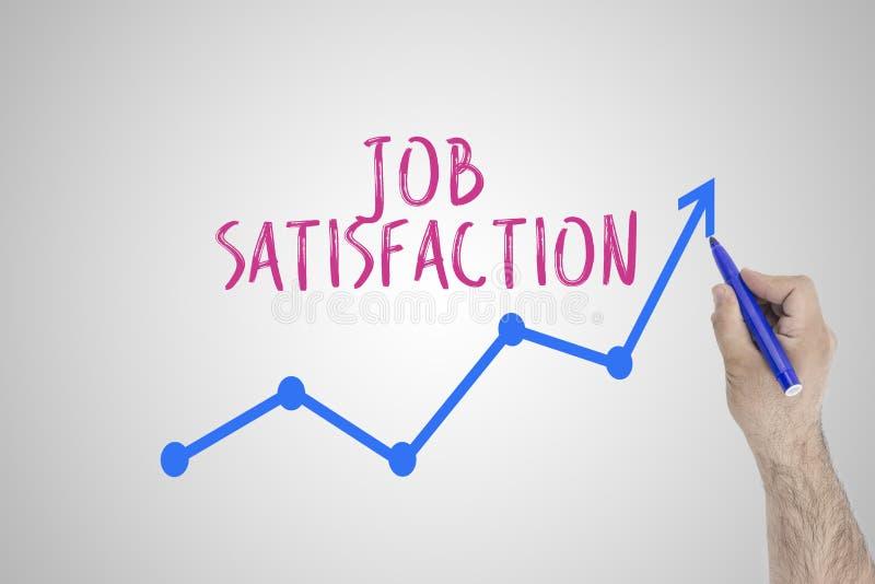 Concept croissant de satisfaction au travail sur le conseil blanc Ligne de accélération d'aspiration d'homme d'affaires d'amélior images stock
