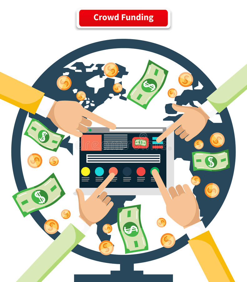 Concept Crowd Funding Banknotes and Coins royalty free illustration