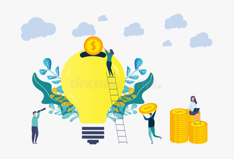 The concept of crowdfunding and investing in an idea or starting a business. People invest idea for business. Colorful illustration. People invest idea for royalty free illustration