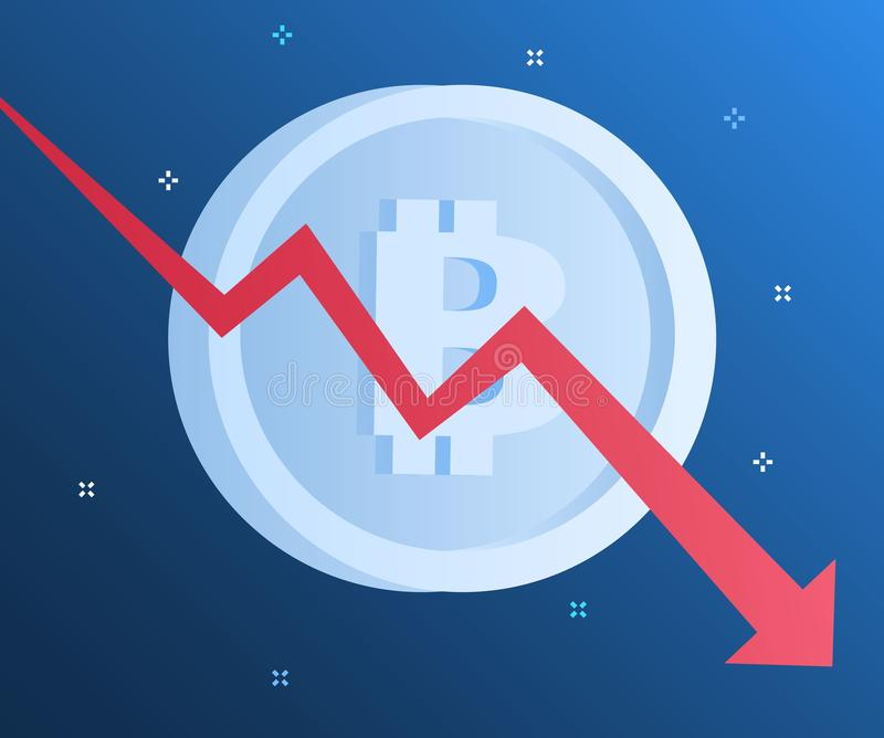 Concept of Crypto currency. Bitcoin financial system falls. Flat design, vector illustration in blue color vector illustration