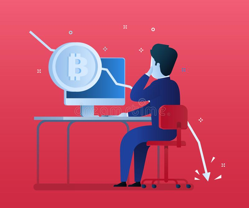 Concept of Crypto currency. Businessman making investments for bitcoin and blockchain. Bitcoin financial system falls. Flat design, vector illustration in blue stock illustration
