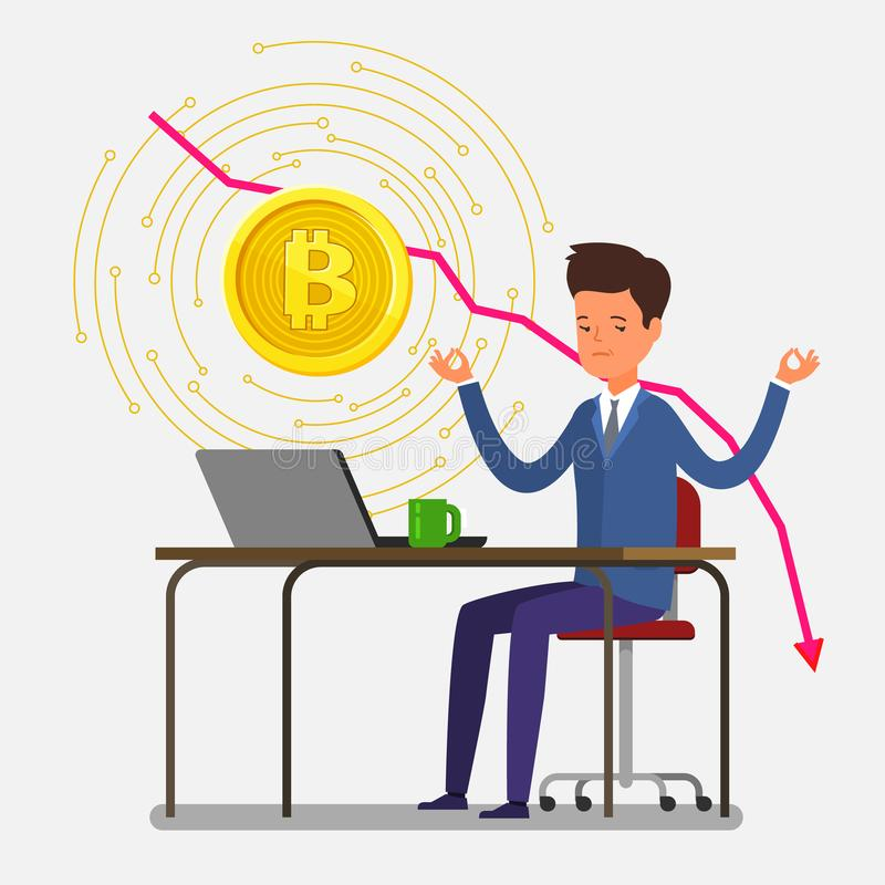 Concept of Crypto currency. Businessman meditates, hi making investments for bitcoin and blockchain. Bitcoin financial system falls. Flat design, vector royalty free illustration