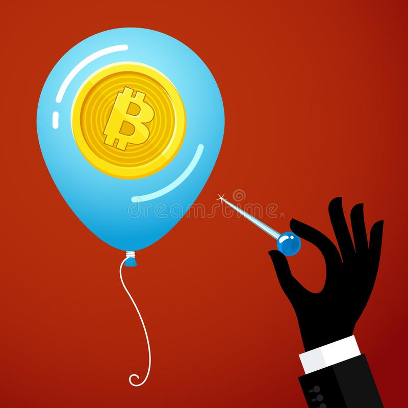 Concept of Crypto currency. Hand with the needle and Bitcoin balloon. Bankrupt bitcoin. Concept of Crypto currency. Hand with the needle and Bitcoin balloon on royalty free illustration