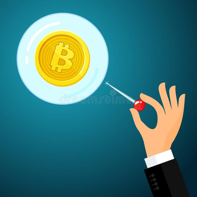 Concept of Crypto currency. Hand with the needle and Bitcoin balloon. Bankrupt bitcoin. Concept of Crypto currency. Hand with the needle and Bitcoin bubble on vector illustration