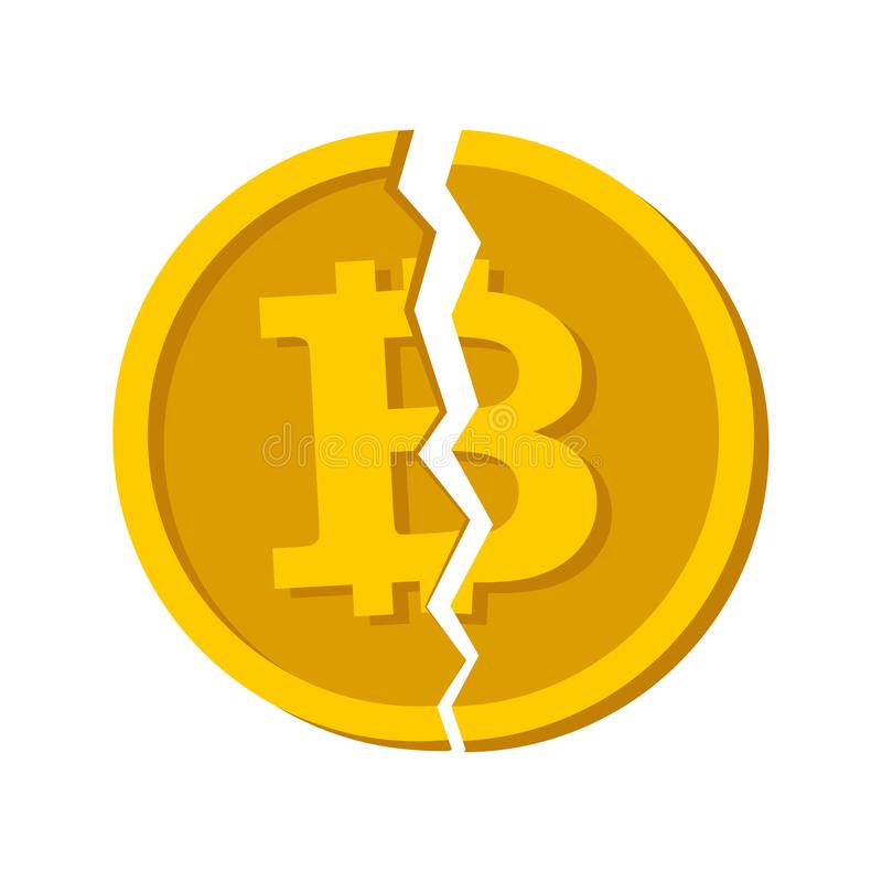 Concept Cryptocurrency Bitcoin divided. Cash Flat design vector. Vector broken bitcoin. Blockchain and crypto currency crisis. Cry vector illustration