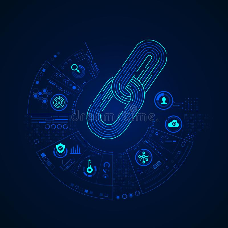 Block chain. Concept of cryptocurrency or block chain technology, graphic of chain with digital business icons stock illustration