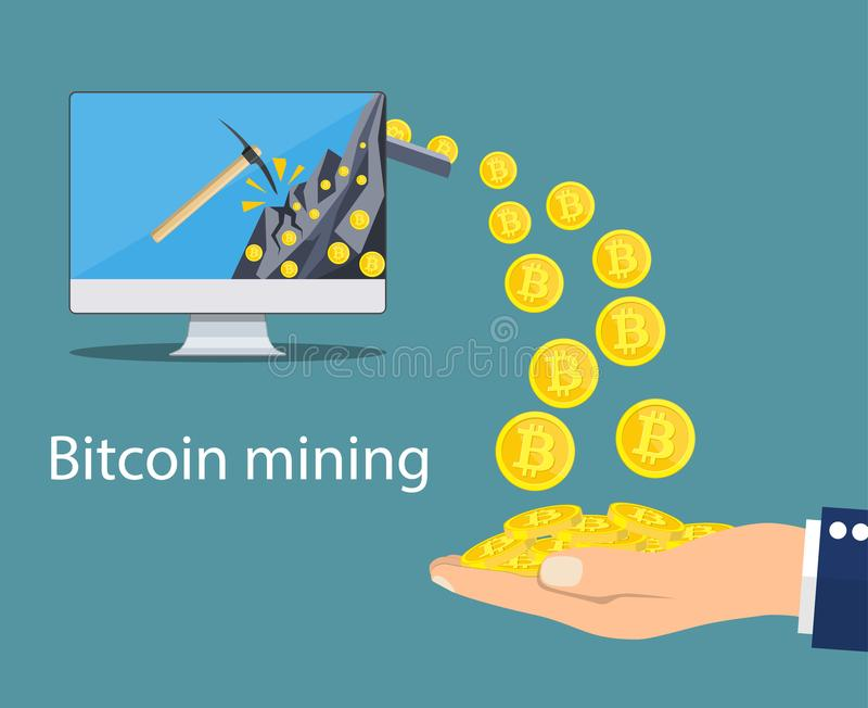 Concept of cryptocurrency technology, stock illustration