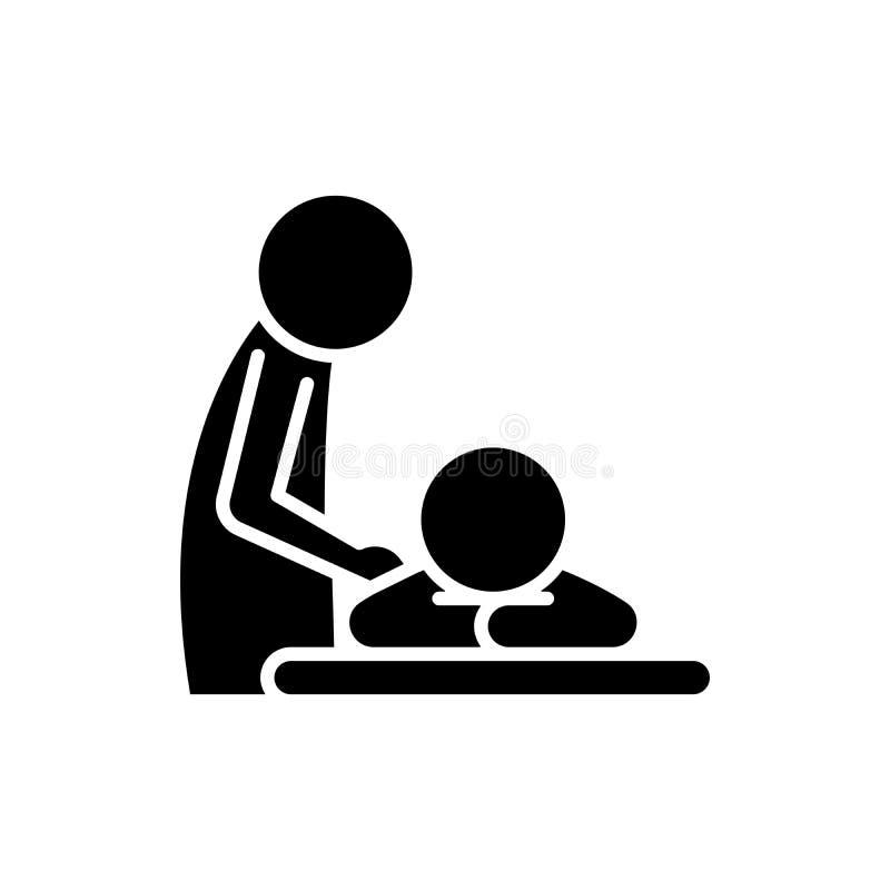 Concept curatif d'icône de noir de massage Symbole plat de vecteur de massage curatif, signe, illustration illustration de vecteur