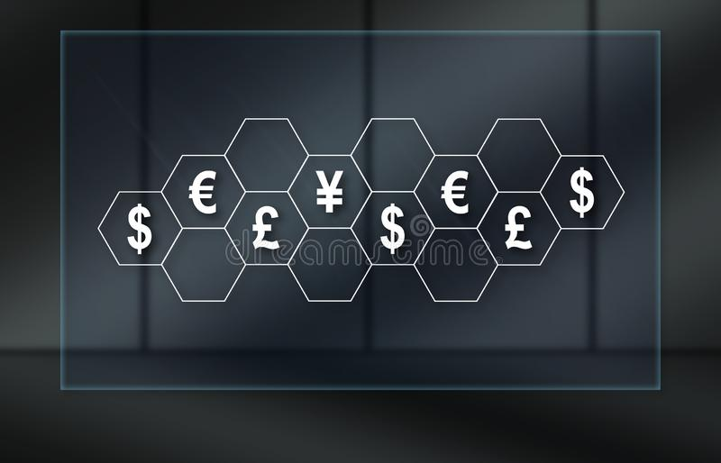 Concept of currencies. Currencies concept on dark background royalty free illustration