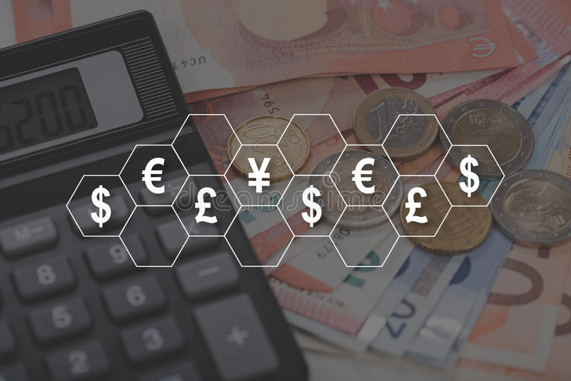 Concept of currencies royalty free stock photography