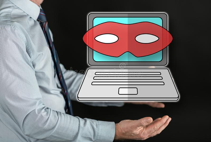 Concept of cyber attack. Cyber attack concept above the hands of a man royalty free stock photography