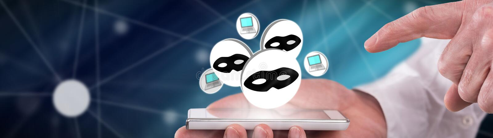 Concept of cyber attack. Cyber attack concept above a smartphone held by a man stock photos