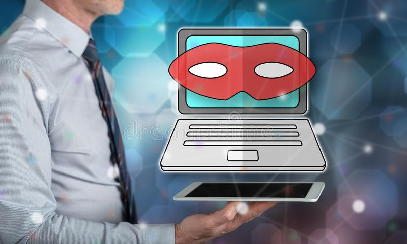 Concept of cyber attack. Cyber attack concept above a tablet held by a man royalty free stock images