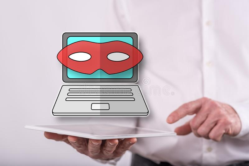 Concept of cyber attack. Cyber attack concept above a tablet held by a man in background stock photography