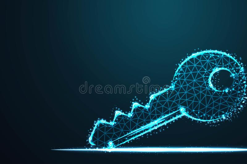 concept of cyber security or private key, Abstract 3d polygonal wireframe airplane on blue night sky with dots and stars. vector illustration