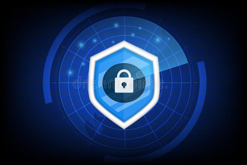 Concept cyberveiligheid met zeer belangrijke pictogramvector op donkere achtergrond stock illustratie