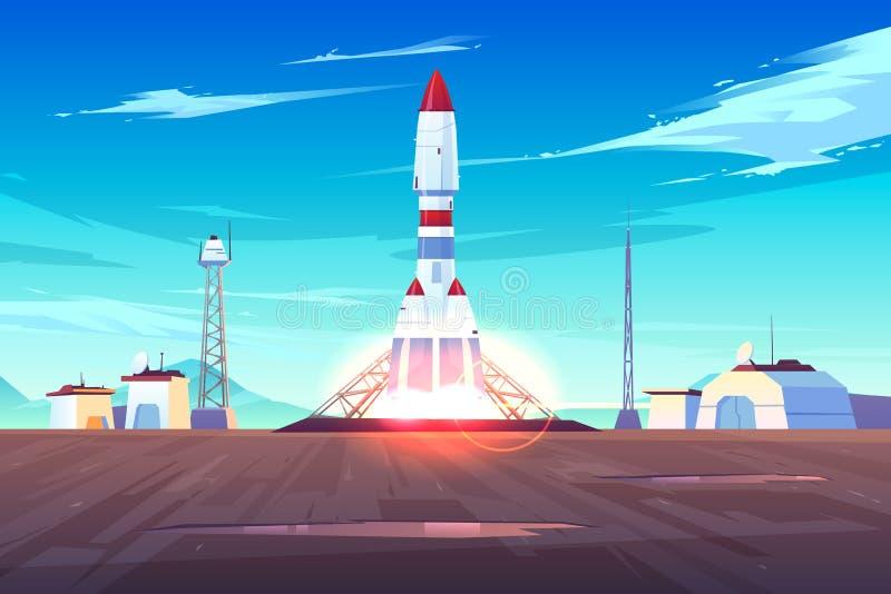 Concept déjeunant de vecteur de bande dessinée de vaisseau spatial moderne illustration de vecteur