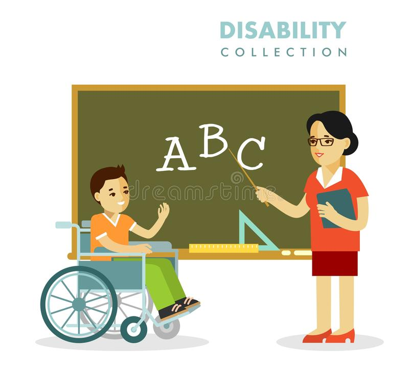 Concept d'écoliers et de professeur d'incapacité illustration stock