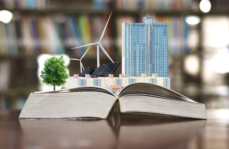 Concept d'écologie établissant la turbine de vent propre d'énergie électrique et la pile solaire l'avenir images libres de droits