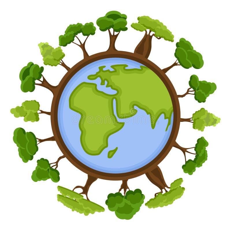 Concept d'écologie avec la terre et les arbres verts d'Eco Globe de planète de la terre de bande dessinée avec des éléments d'env illustration de vecteur