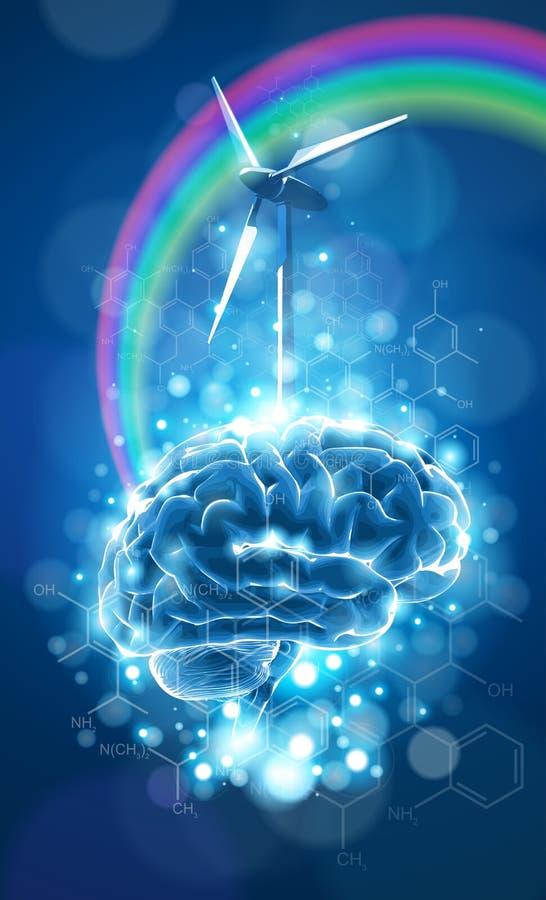 Concept d'écologie : cerveau, arc-en-ciel et moulin à vent illustration libre de droits