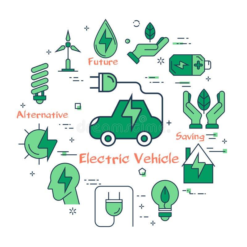 Concept d'écologie dans les icônes vertes réglées illustration libre de droits