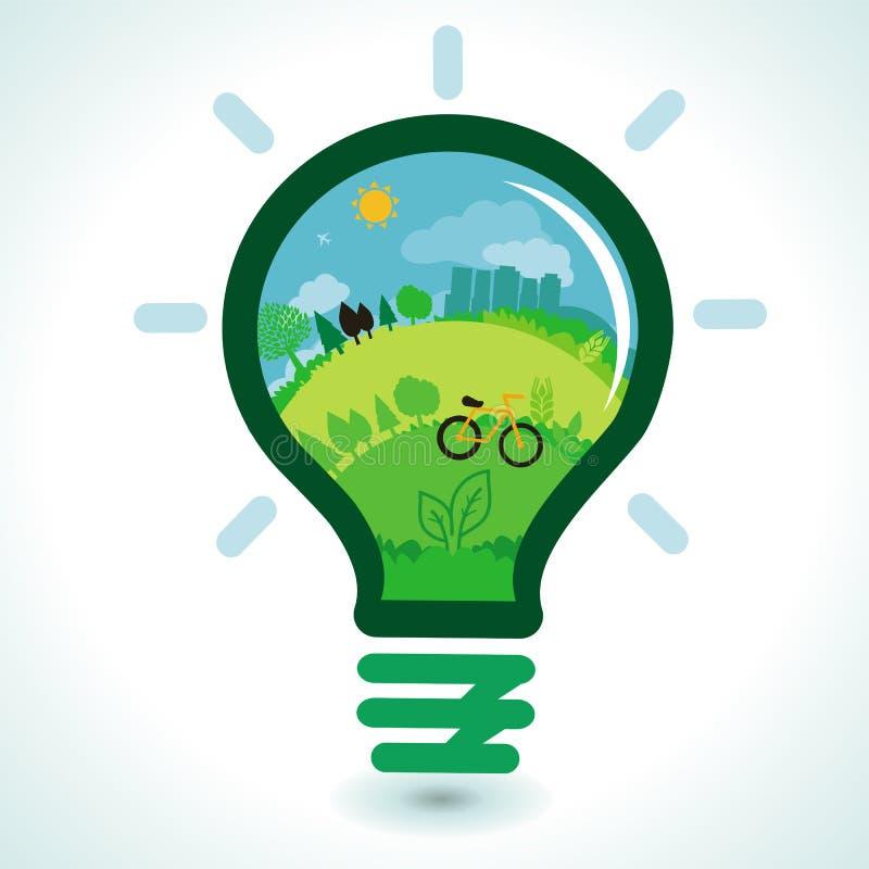 Concept d'écologie de vecteur - paysage vert abstrait illustration de vecteur
