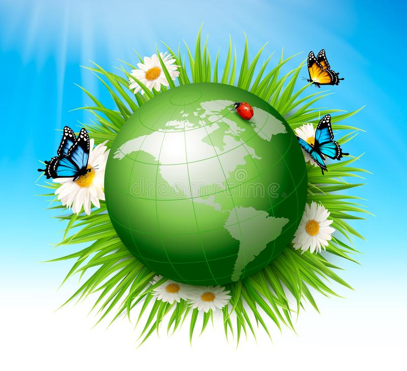 Concept d'écologie Globe et herbe verts illustration stock