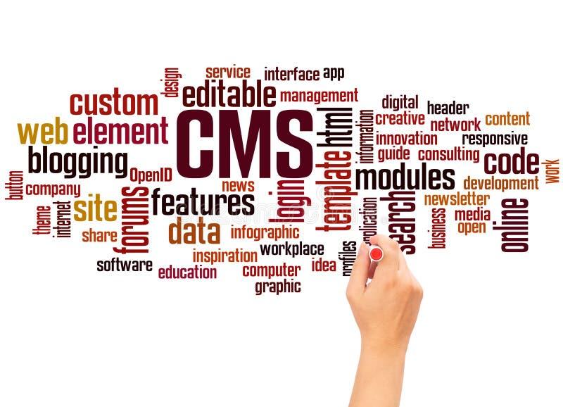 Concept d'écriture de nuage et de main de mot de CMS illustration stock