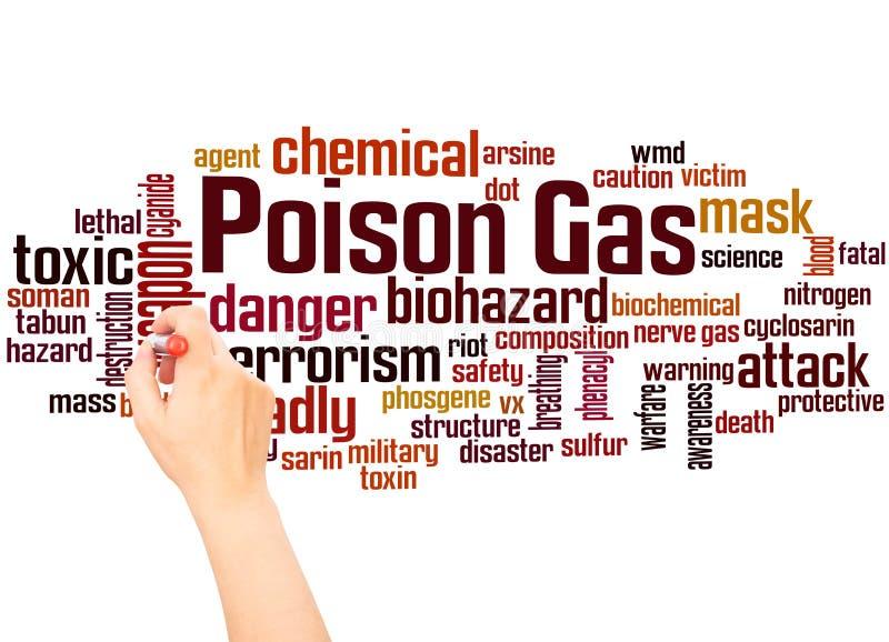 Concept d'écriture de nuage et de main de mot de gaz toxique images stock