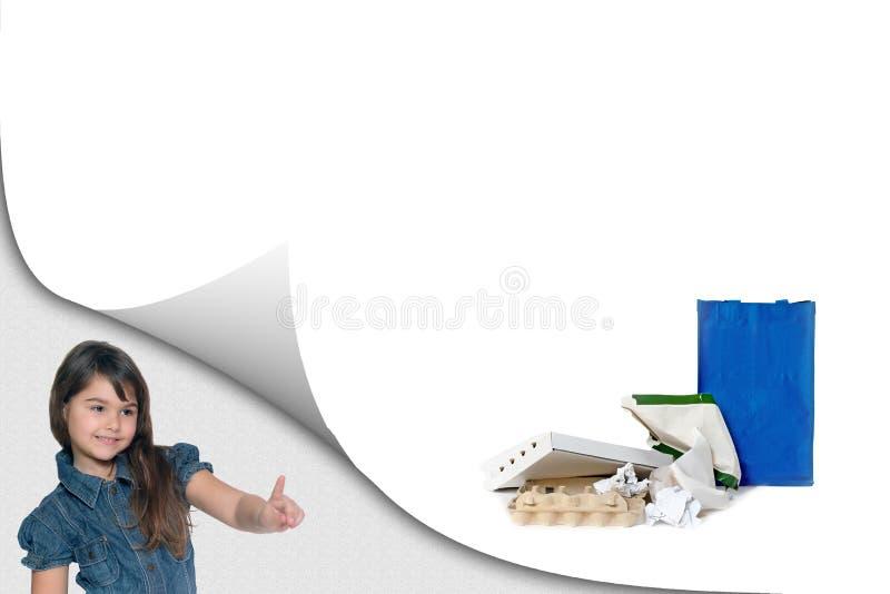 Concept d'éducation d'écologie avec les déchets de papier assortis image stock