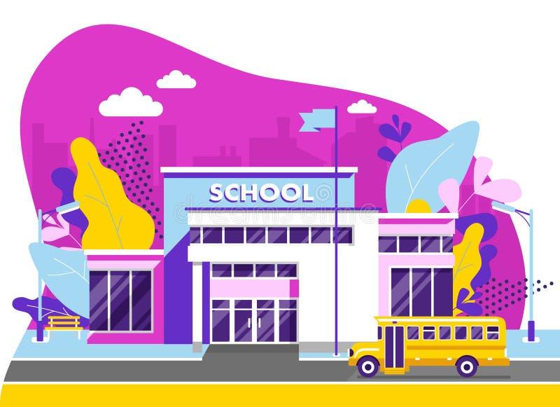 Concept d'éducation avec le bâtiment scolaire dans le style plat moderne photo libre de droits