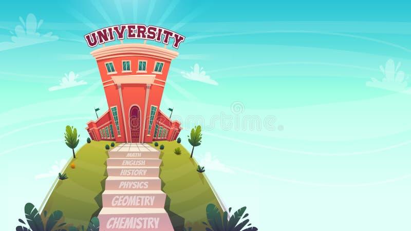 Concept d'éducation , classes pas d'escaliers pas à l'université de la connaissance , échelle avec texte mathématiques chimie che illustration libre de droits