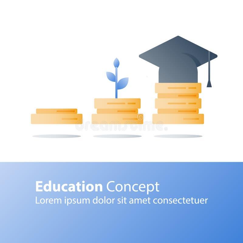 Concept d'éducation, croissance de la connaissance, préparation d'examen, tige d'usine, pile de livres illustration libre de droits